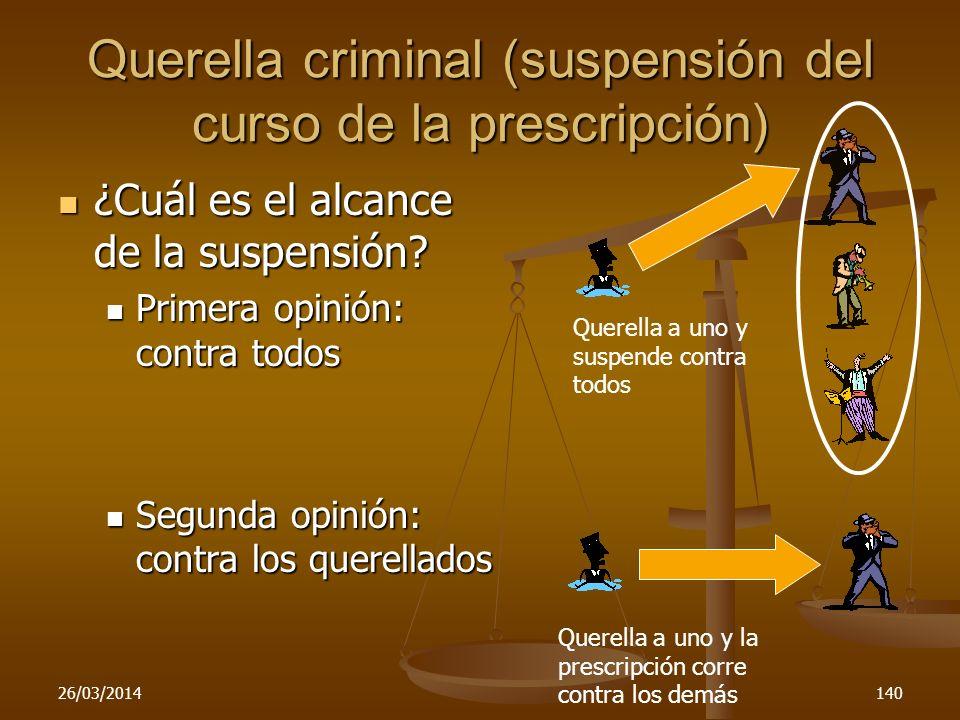Querella criminal (suspensión del curso de la prescripción)