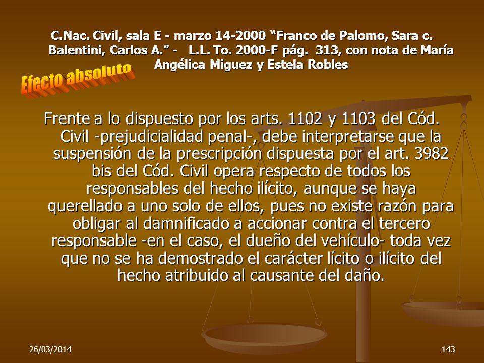 C. Nac. Civil, sala E - marzo 14-2000 Franco de Palomo, Sara c