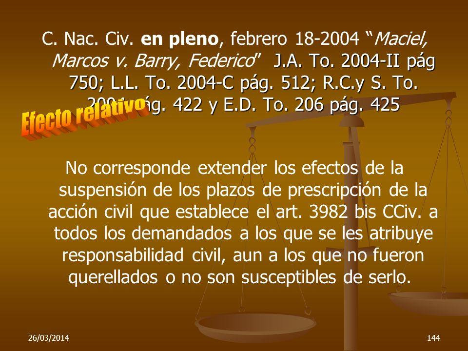 C. Nac. Civ. en pleno, febrero 18-2004 Maciel, Marcos v