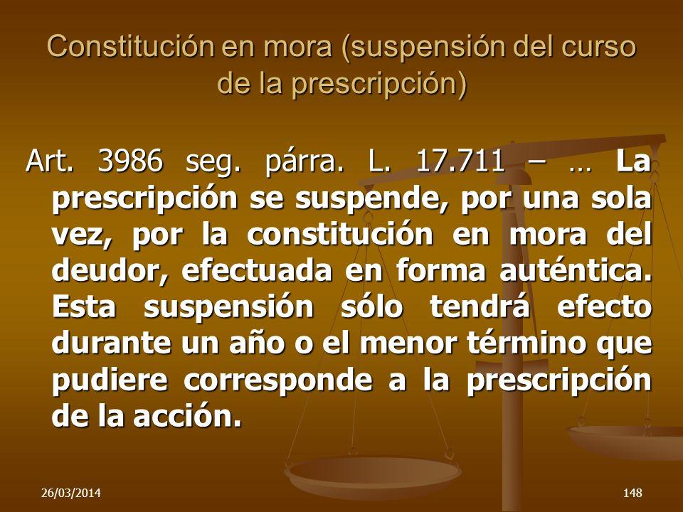 Constitución en mora (suspensión del curso de la prescripción)