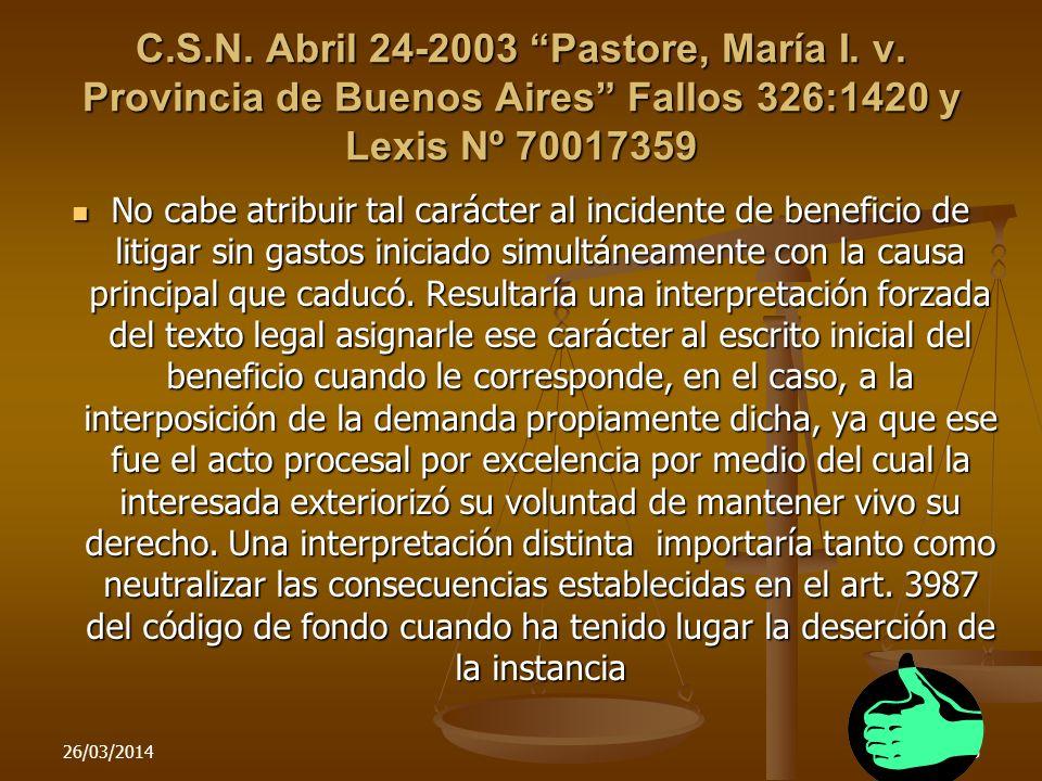 C. S. N. Abril 24-2003 Pastore, María I. v