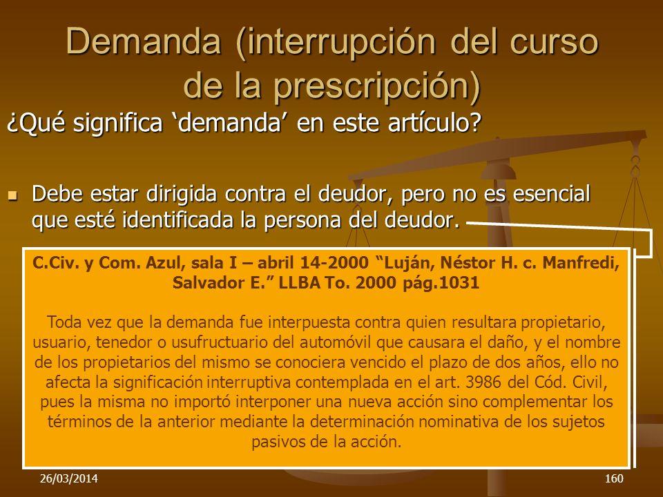 Demanda (interrupción del curso de la prescripción)