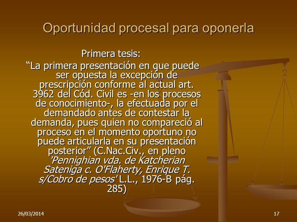 Oportunidad procesal para oponerla