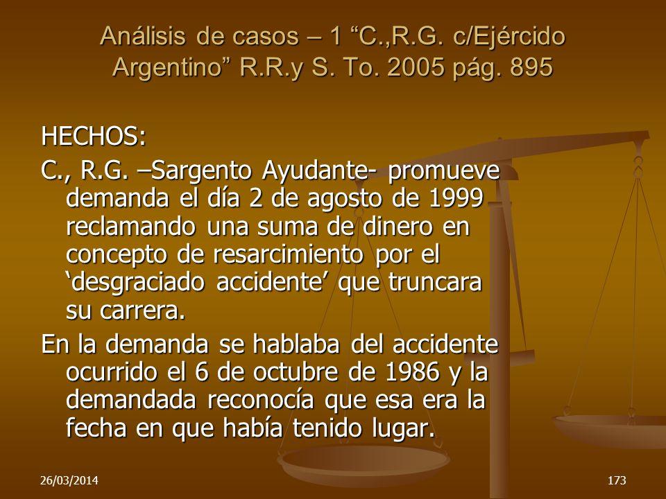 Análisis de casos – 1 C. ,R. G. c/Ejércido Argentino R. R. y S. To