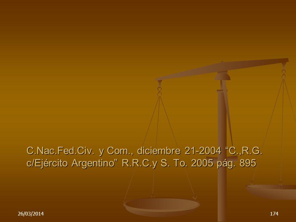 C. Nac. Fed. Civ. y Com. , diciembre 21-2004 C. ,R. G