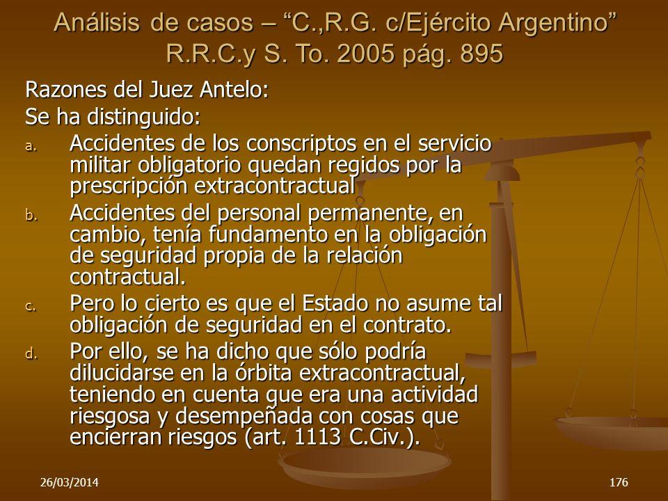 Análisis de casos – C. ,R. G. c/Ejército Argentino R. R. C. y S. To