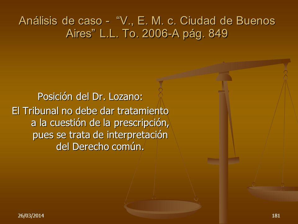 Posición del Dr. Lozano:
