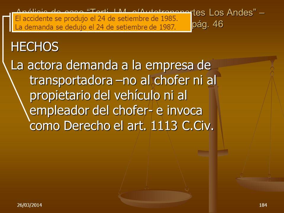 Análisis de caso Torti,J. M. c/Autotransportes Los Andes – Rev