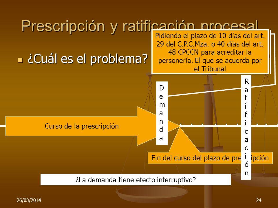 Prescripción y ratificación procesal