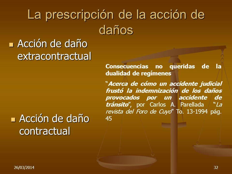 La prescripción de la acción de daños