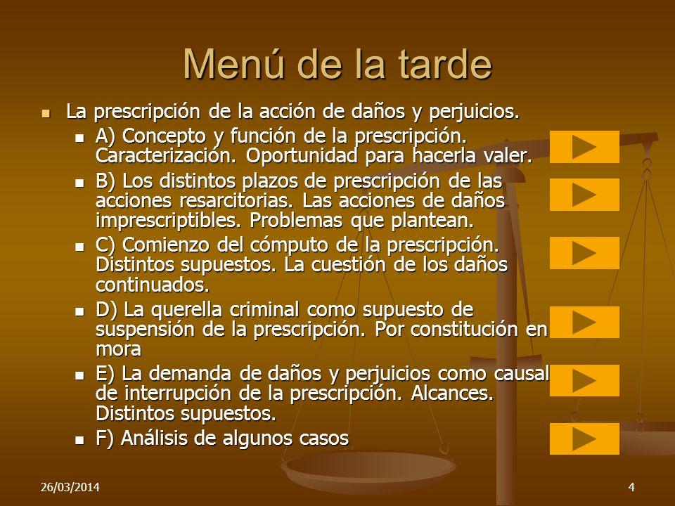 Menú de la tarde La prescripción de la acción de daños y perjuicios.