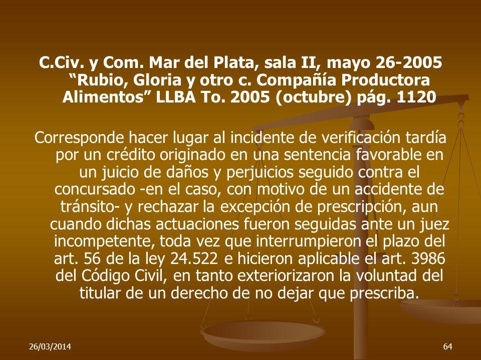 C.Civ. y Com. Mar del Plata, sala II, mayo 26-2005 Rubio, Gloria y otro c. Compañía Productora Alimentos LLBA To. 2005 (octubre) pág. 1120