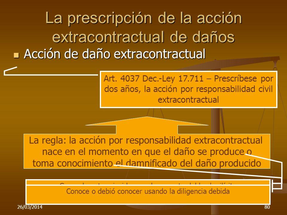 La prescripción de la acción extracontractual de daños