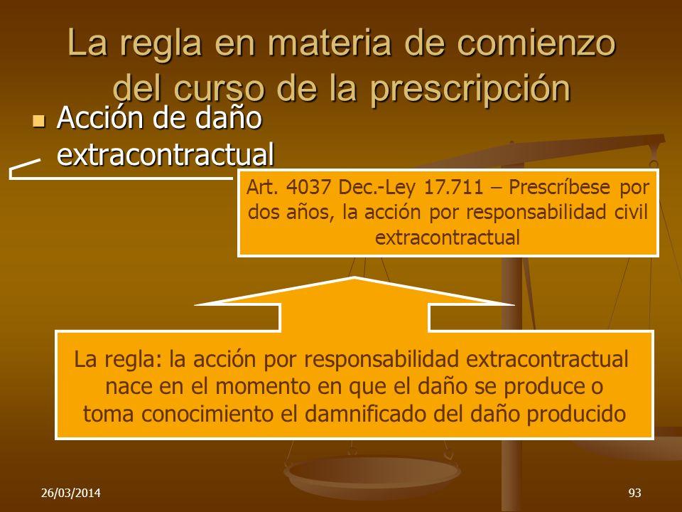 La regla en materia de comienzo del curso de la prescripción