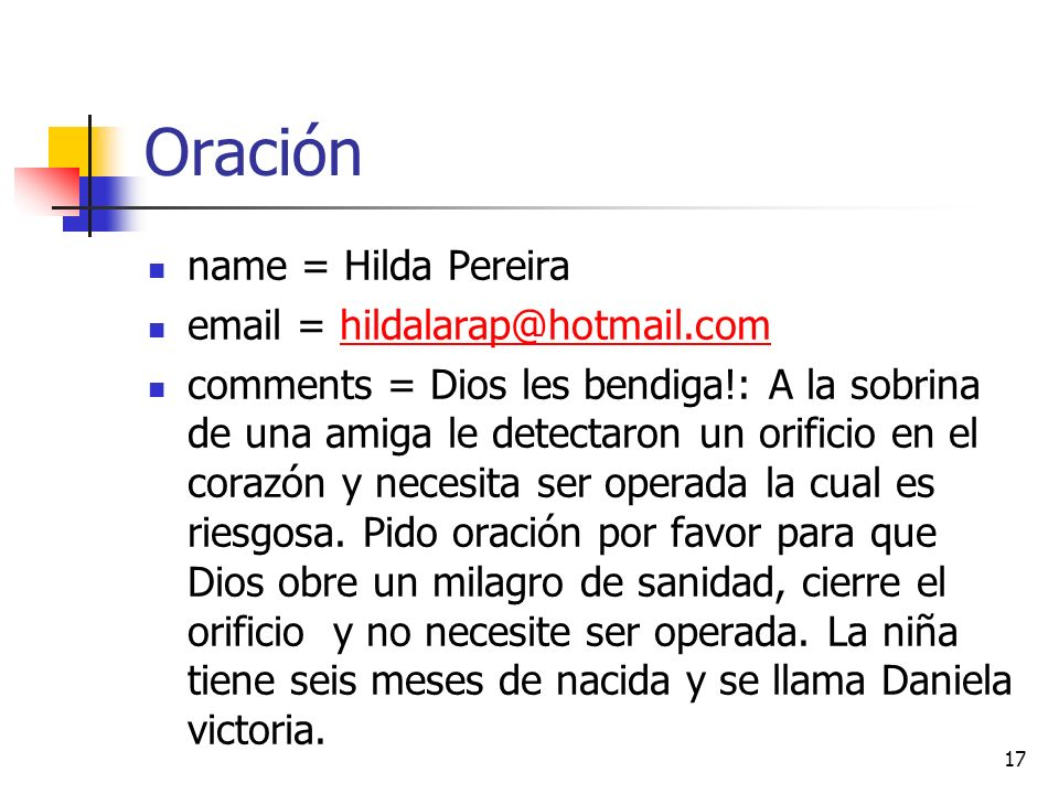 Oración name = Hilda Pereira email = hildalarap@hotmail.com