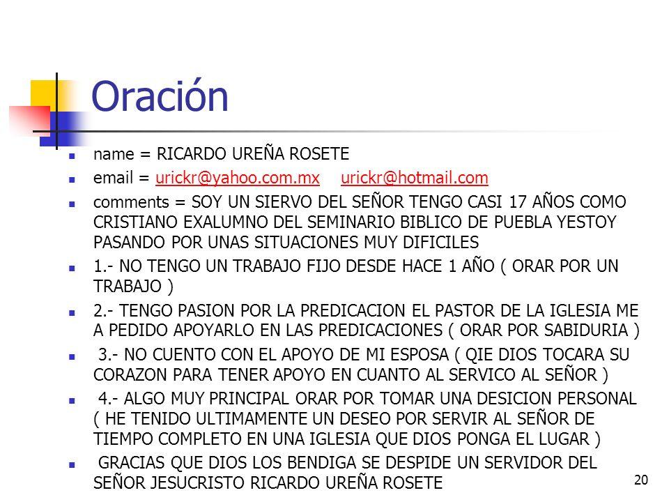 Oración name = RICARDO UREÑA ROSETE
