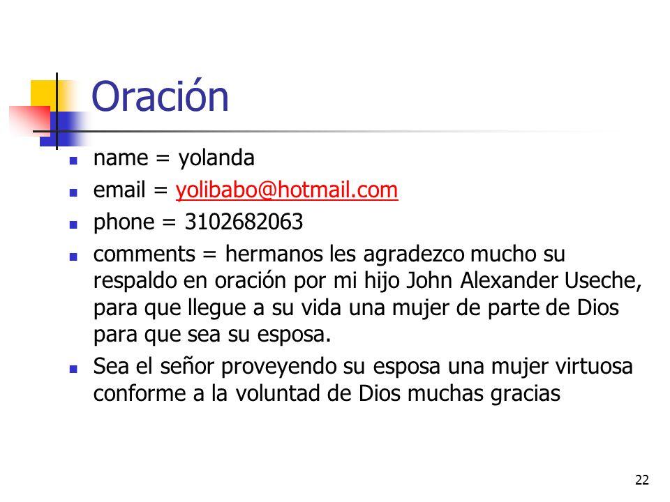 Oración name = yolanda email = yolibabo@hotmail.com phone = 3102682063
