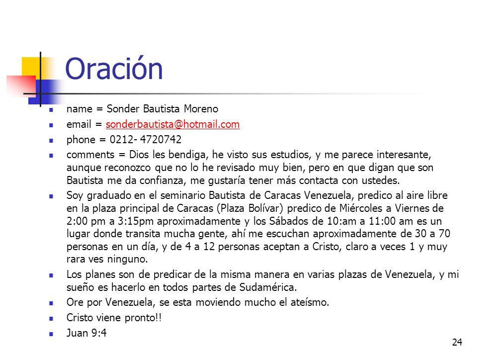 Oración name = Sonder Bautista Moreno