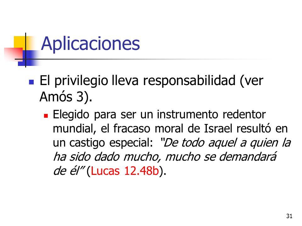 Aplicaciones El privilegio lleva responsabilidad (ver Amós 3).