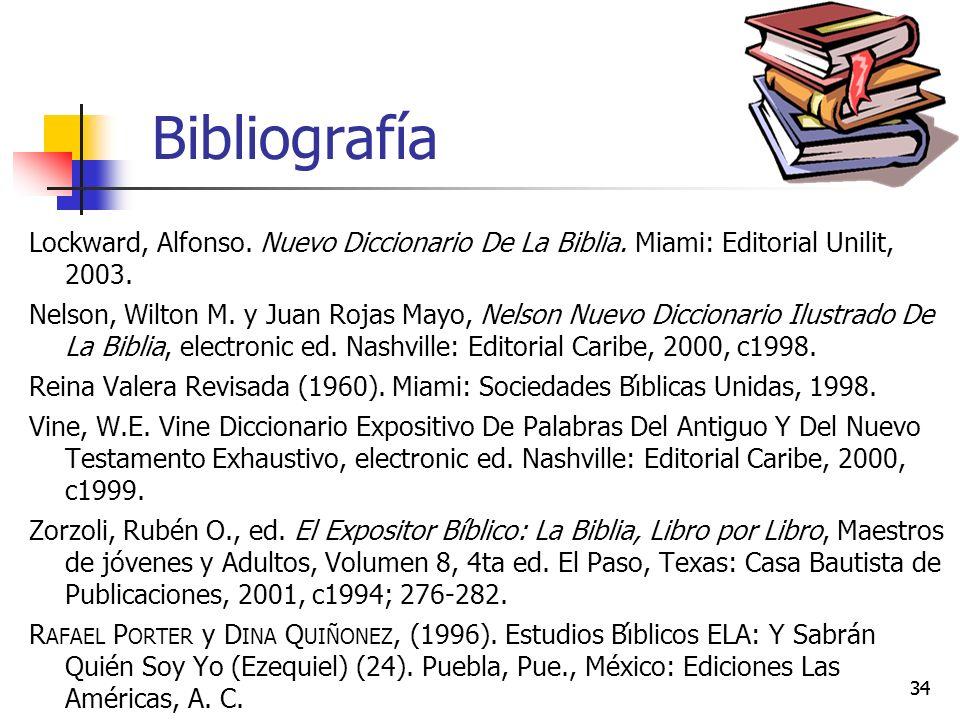Bibliografía Lockward, Alfonso. Nuevo Diccionario De La Biblia. Miami: Editorial Unilit, 2003.