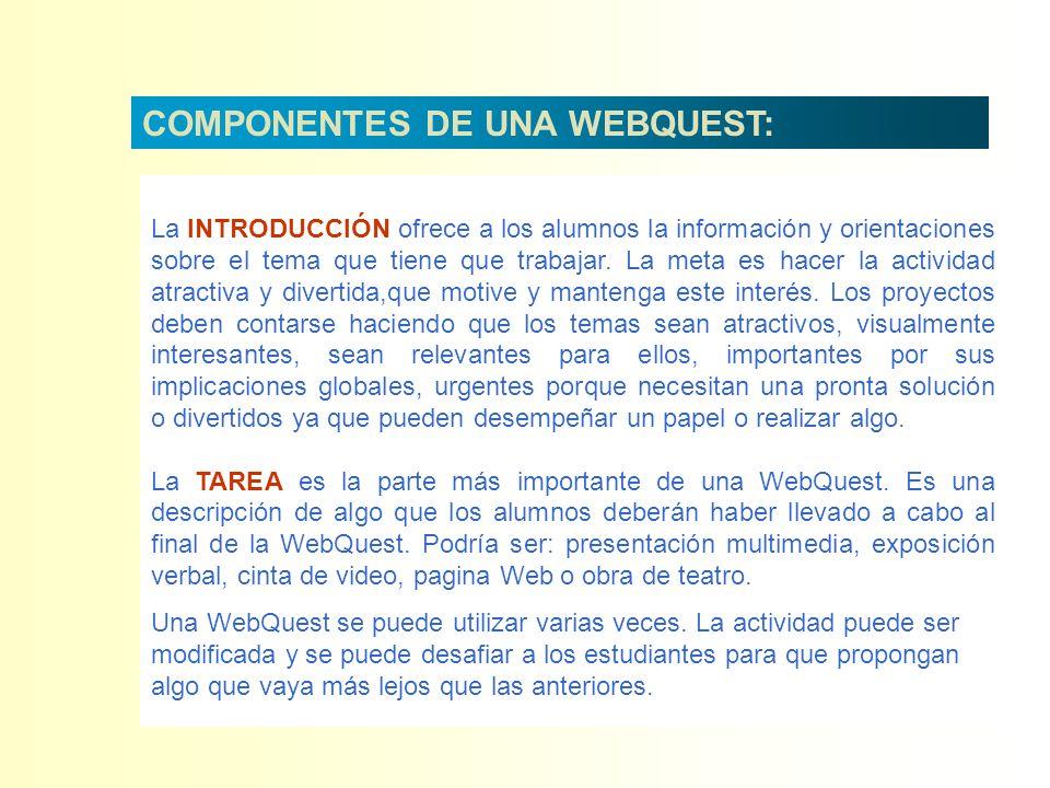 COMPONENTES DE UNA WEBQUEST:
