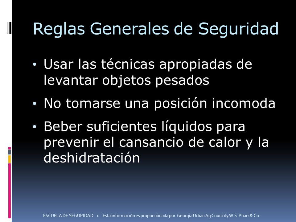 Reglas Generales de Seguridad