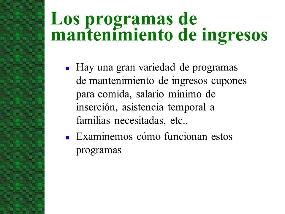 Los programas de mantenimiento de ingresos