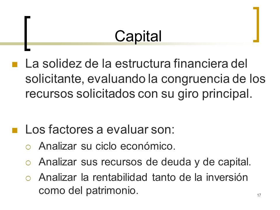 Capital La solidez de la estructura financiera del solicitante, evaluando la congruencia de los recursos solicitados con su giro principal.
