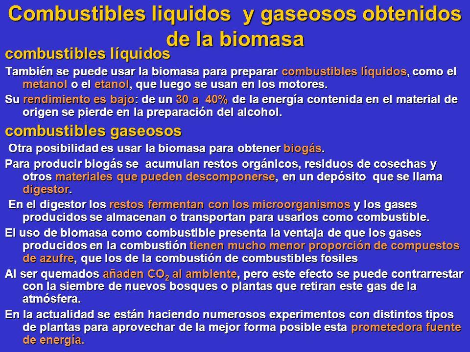 Combustibles liquidos y gaseosos obtenidos de la biomasa