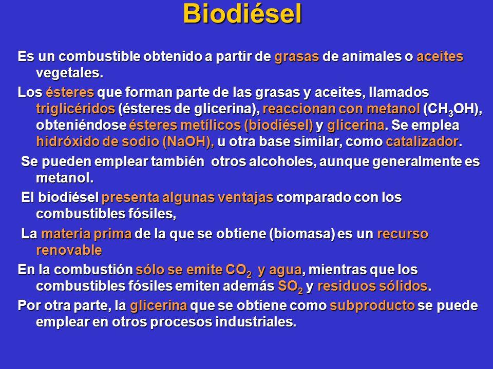 Biodiésel Es un combustible obtenido a partir de grasas de animales o aceites vegetales.