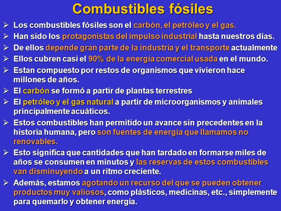 Combustibles fósiles Los combustibles fósiles son el carbón, el petróleo y el gas.