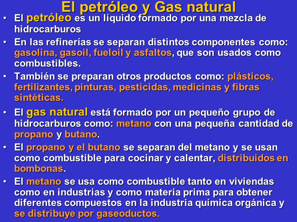 El petróleo y Gas natural