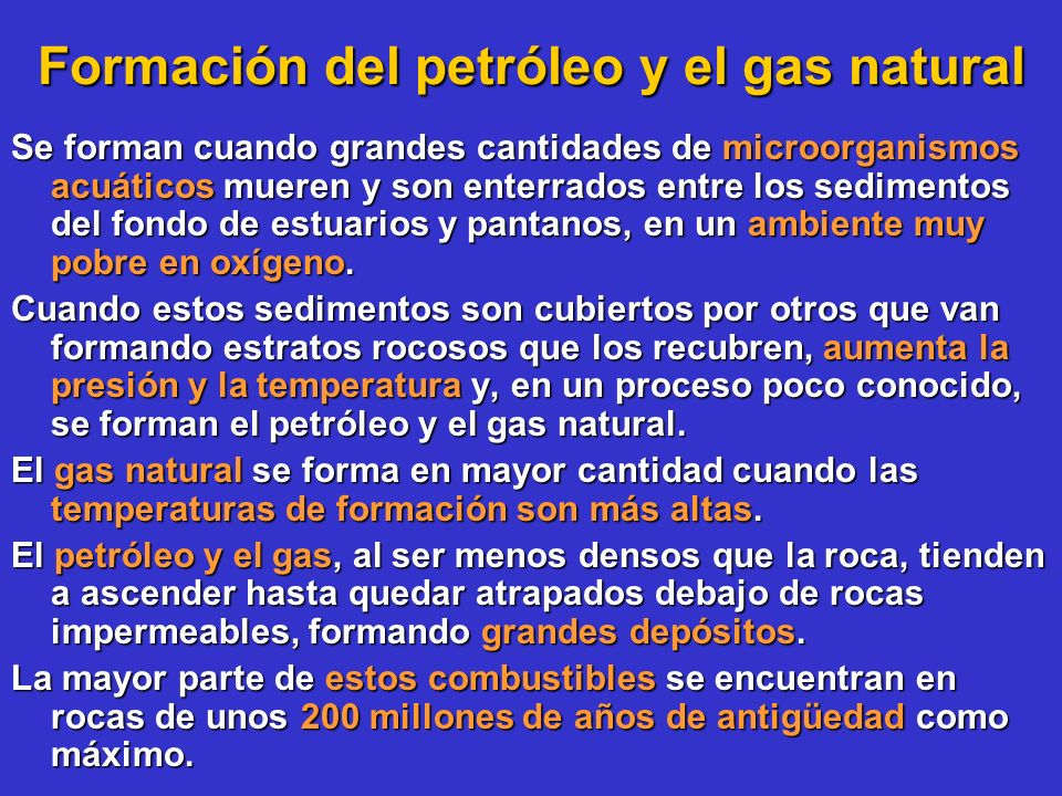 Formación del petróleo y el gas natural