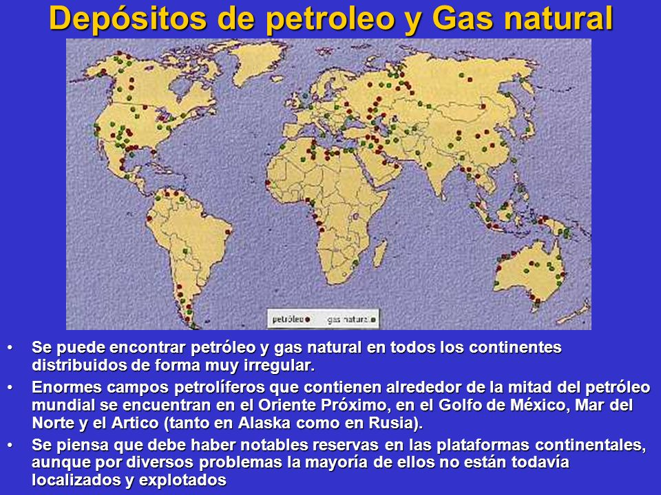 Depósitos de petroleo y Gas natural