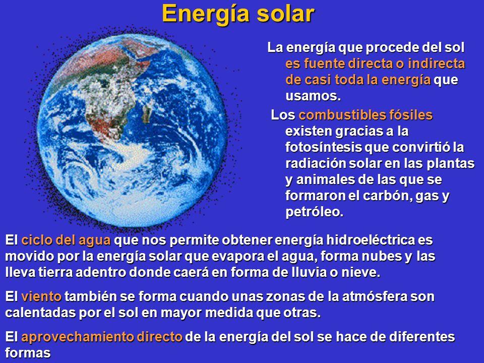 Energía solar La energía que procede del sol es fuente directa o indirecta de casi toda la energía que usamos.
