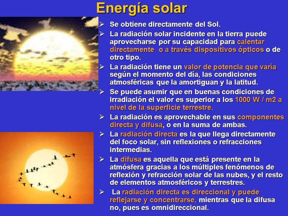 Energía solar Se obtiene directamente del Sol.