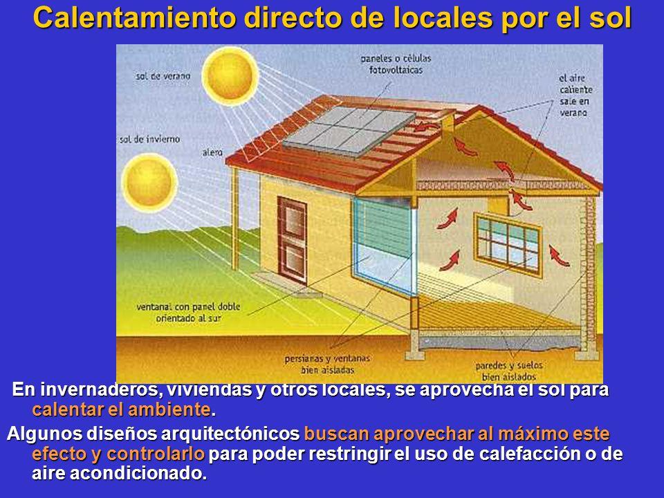 Calentamiento directo de locales por el sol