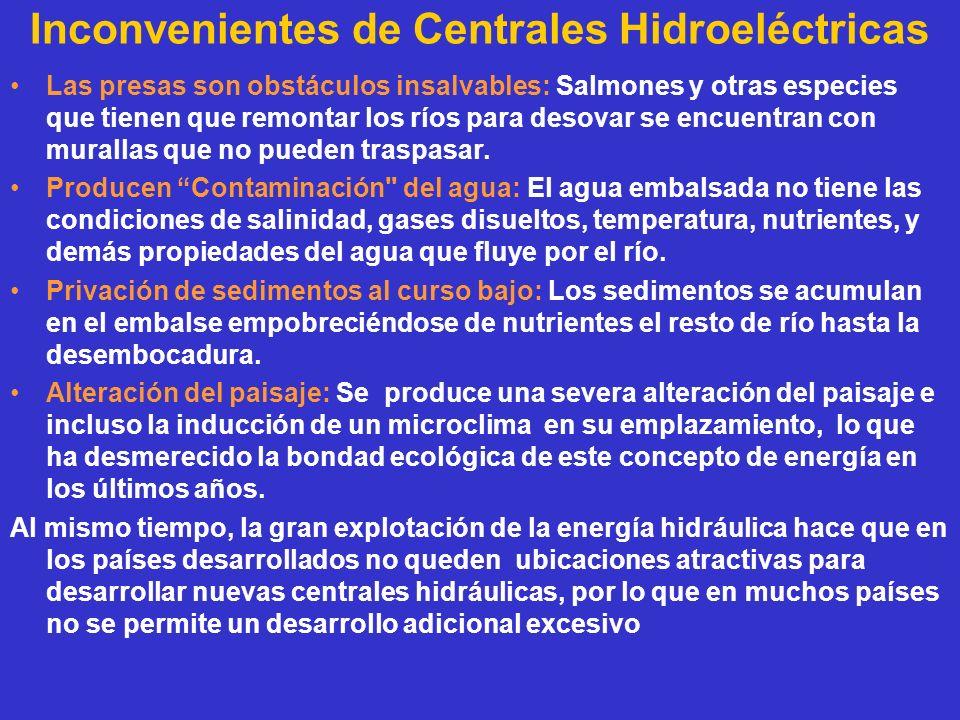 Inconvenientes de Centrales Hidroeléctricas