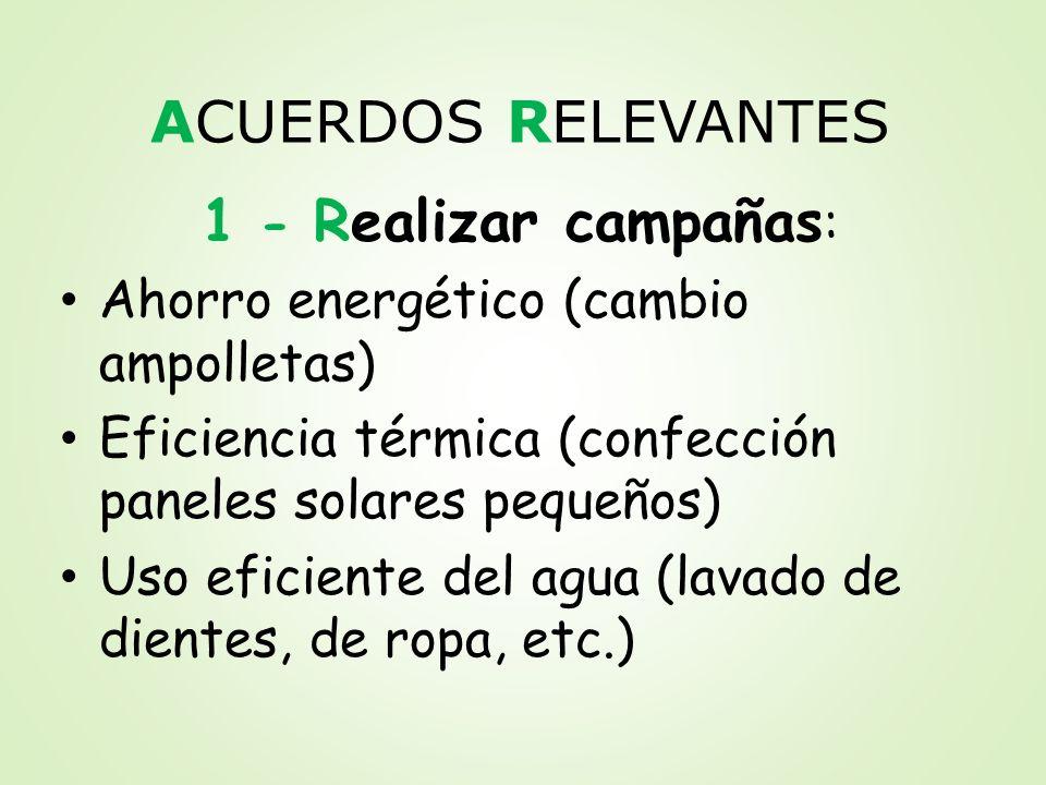 ACUERDOS RELEVANTES 1 - Realizar campañas:
