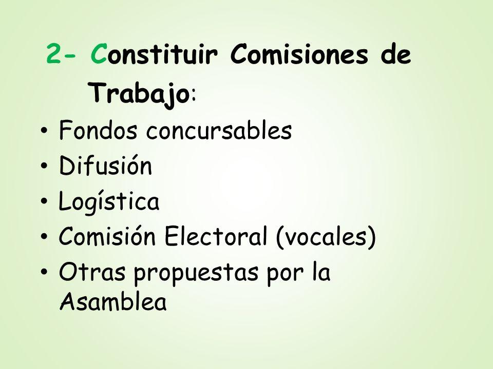 Trabajo: 2- Constituir Comisiones de Fondos concursables Difusión
