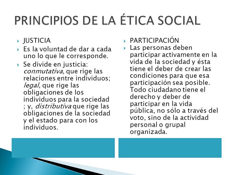 PRINCIPIOS DE LA ÉTICA SOCIAL