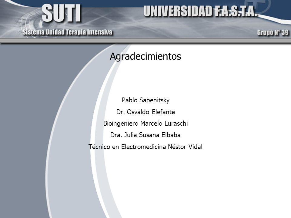 Agradecimientos Pablo Sapenitsky Dr. Osvaldo Elefante