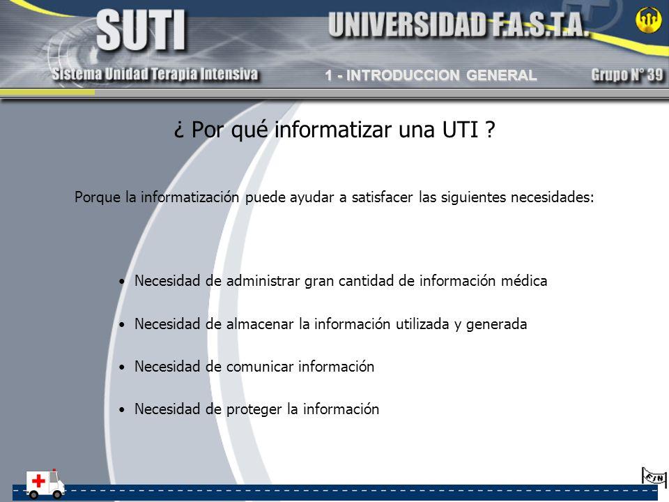 ¿ Por qué informatizar una UTI