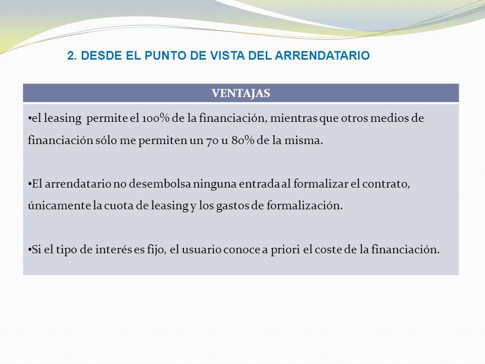2. DESDE EL PUNTO DE VISTA DEL ARRENDATARIO
