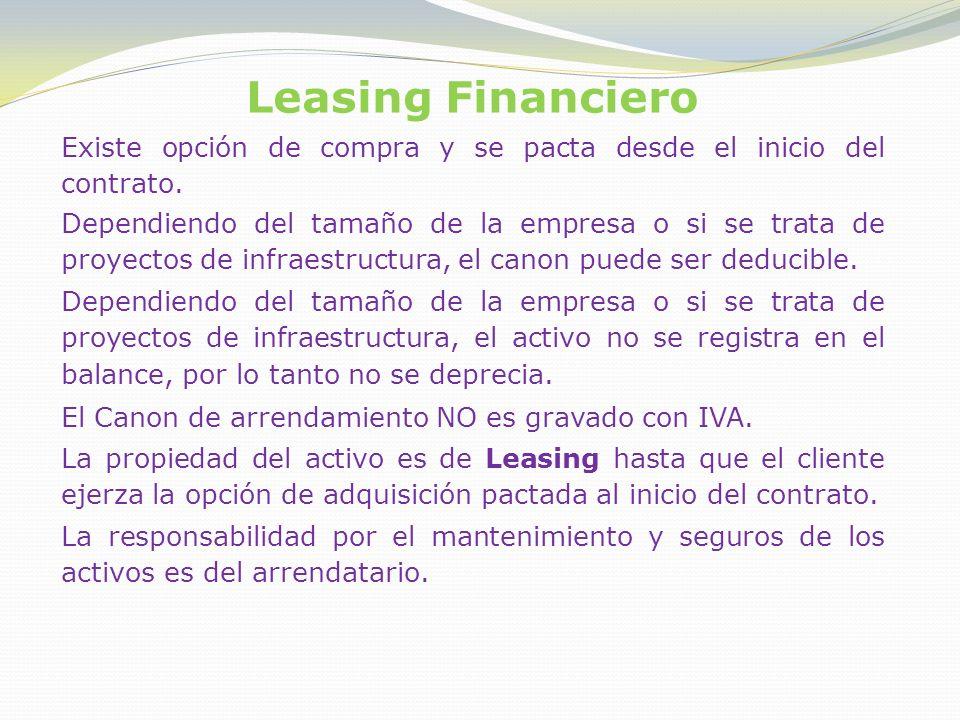 Leasing Financiero Existe opción de compra y se pacta desde el inicio del contrato.