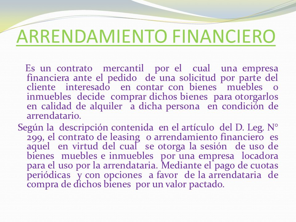 ARRENDAMIENTO FINANCIERO