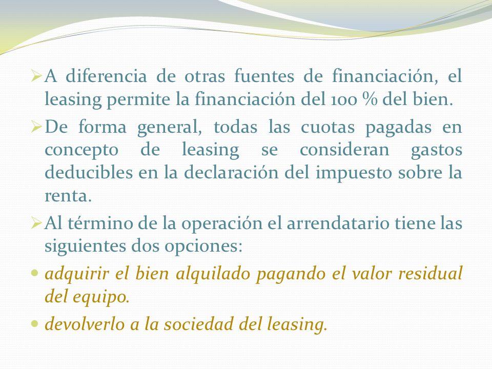 A diferencia de otras fuentes de financiación, el leasing permite la financiación del 100 % del bien.