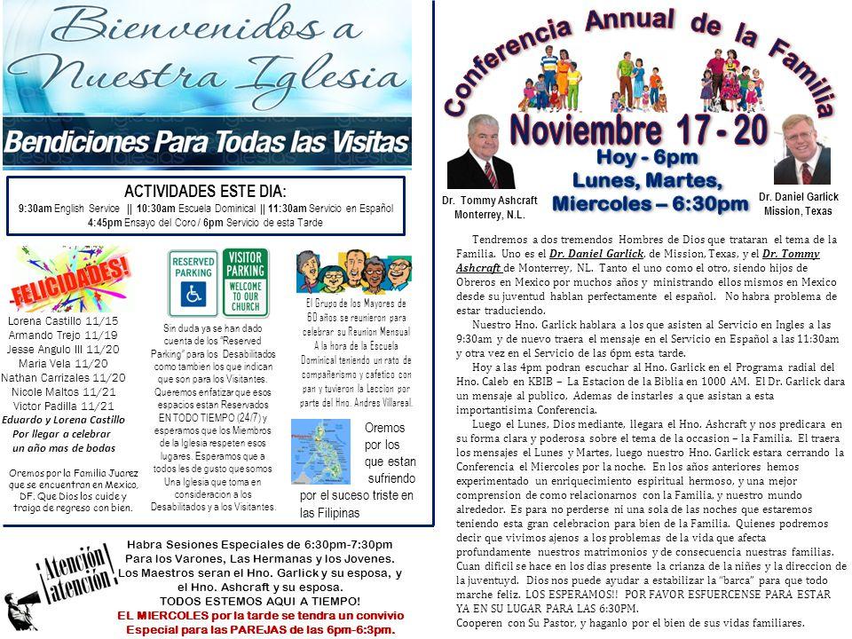 Conferencia Annual de la Familia Noviembre 17 - 20 Hoy - 6pm