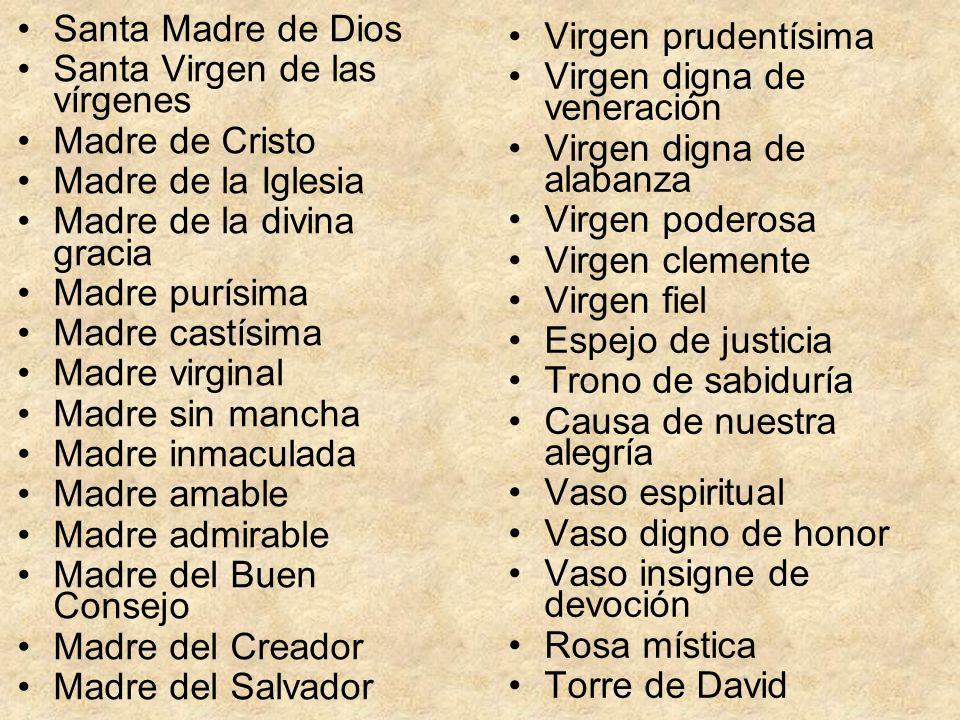 Santa Madre de DiosSanta Virgen de las vírgenes. Madre de Cristo. Madre de la Iglesia. Madre de la divina gracia.