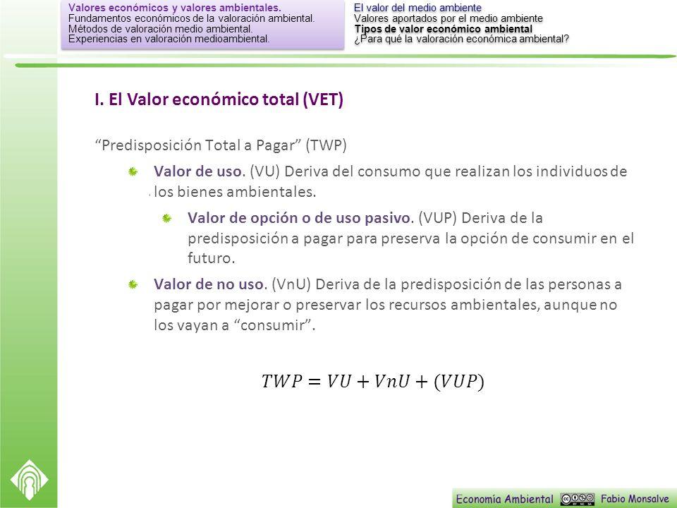 I. El Valor económico total (VET)